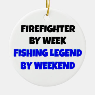 Fishing Legend Firefighter Christmas Ornament