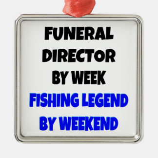 Fishing Legend Funeral Director Silver-Colored Square Decoration