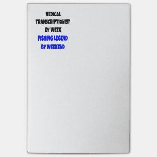Fishing Legend Medical Transcriptionist Post-it Notes