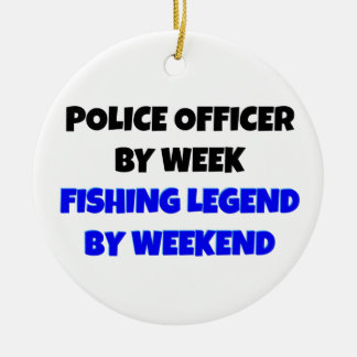 Fishing Legend Police Officer Christmas Ornament