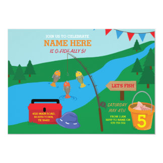 Fishing Let's Birthday Party Blue Fish Invitation