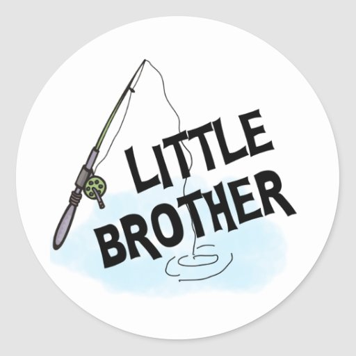 Fishing Little Brother Tshirts and Gifts Round Sticker