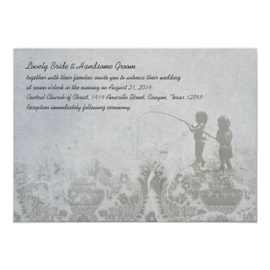Fishing Lovers Faded Blue Wedding Invitation