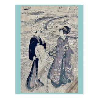 Fishing net by Utagawa, Toyokuni Ukiyoe Post Card