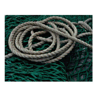 Fishing nets and rope post card