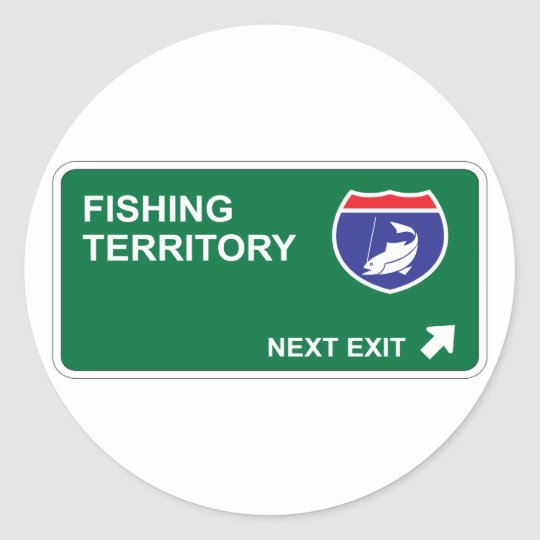 Fishing Next Exit Classic Round Sticker
