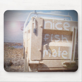 Fishing nice fish mate blue beige beach ute mouse pad