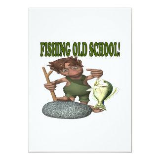 Fishing Old School 13 Cm X 18 Cm Invitation Card