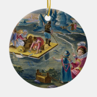 Fishing on a Lake at Night, plate 101 from 'Venati Christmas Ornament