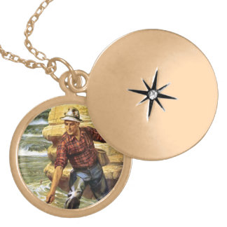 Fishing on the bank of the river gold plated necklace