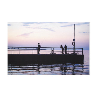 Fishing on The Pier Stretched Canvas Print