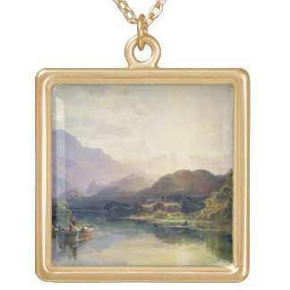 Fishing Party at Loch Achray, with a View of Ben V Square Pendant Necklace