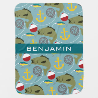 Fishing Pattern with Custom Name Baby Blanket