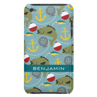 Fishing Pattern with Custom Name Barely There iPod Cases