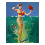 Fishing Pin Up Poster