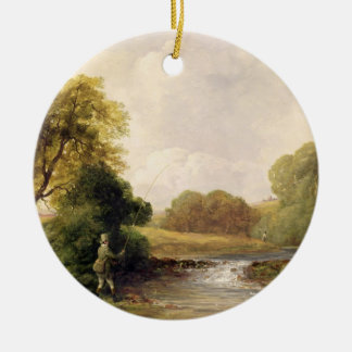 Fishing: Playing a Fish (oil on canvas) Christmas Ornament
