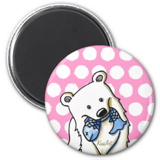 Fishing Polar Bear 6 Cm Round Magnet