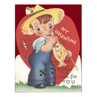 Fishing Pole Fish Country Boy Valentine Postcard