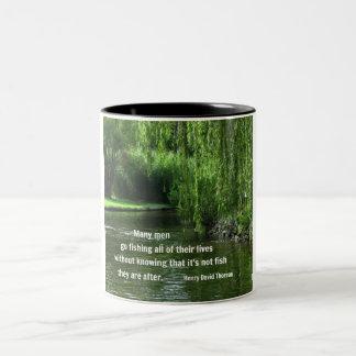 Fishing quote by H.D. Thoreau Two-Tone Coffee Mug