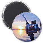 Fishing Reel at Sunset Magnet