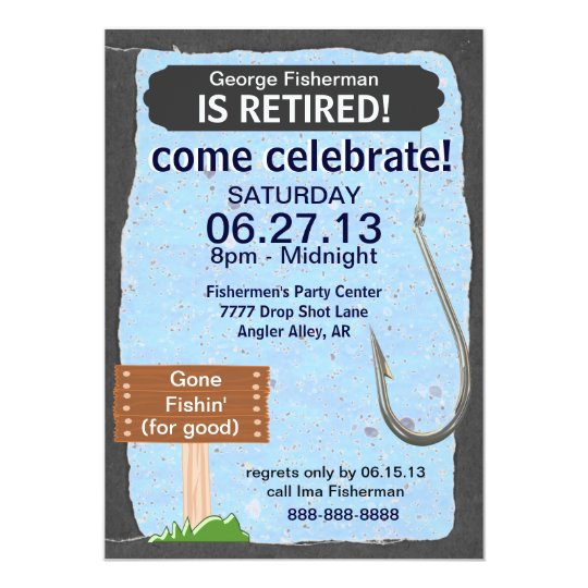 Fishing Retirement Party celebration invitation