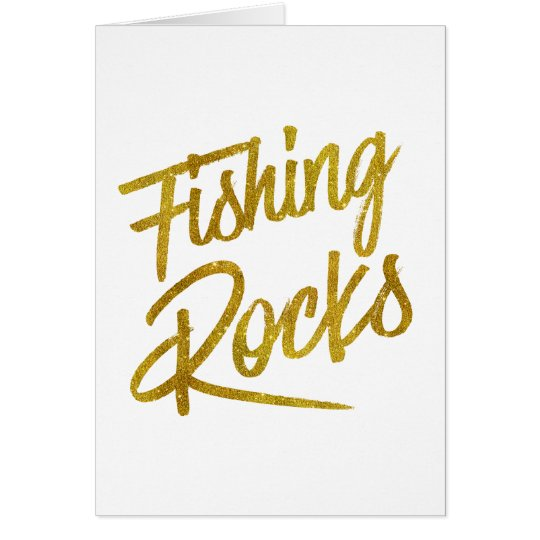 Fishing Rocks Gold Faux Foil Metallic Glitter Quot