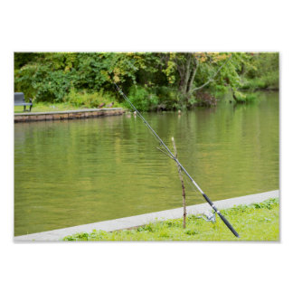 Fishing Rod with Pond Poster