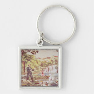 Fishing Scene Silver-Colored Square Key Ring