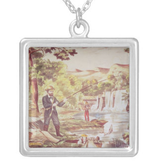 Fishing Scene Silver Plated Necklace