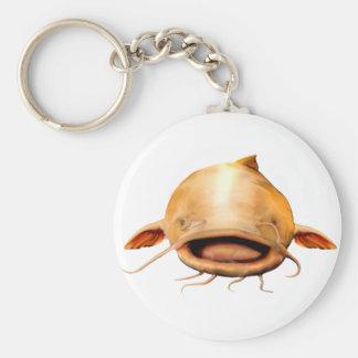 Fishing smile basic round button keychain