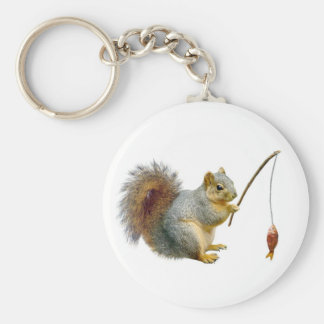 Fishing Squirrel Key Ring