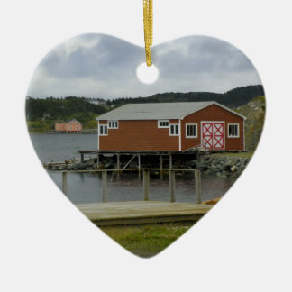 Fishing Stage in Twillingate Ceramic Heart Decoration