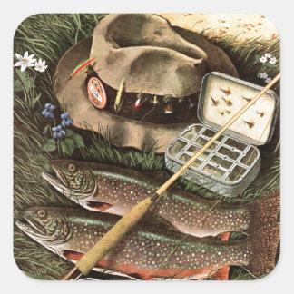 Fishing Still Life Square Stickers