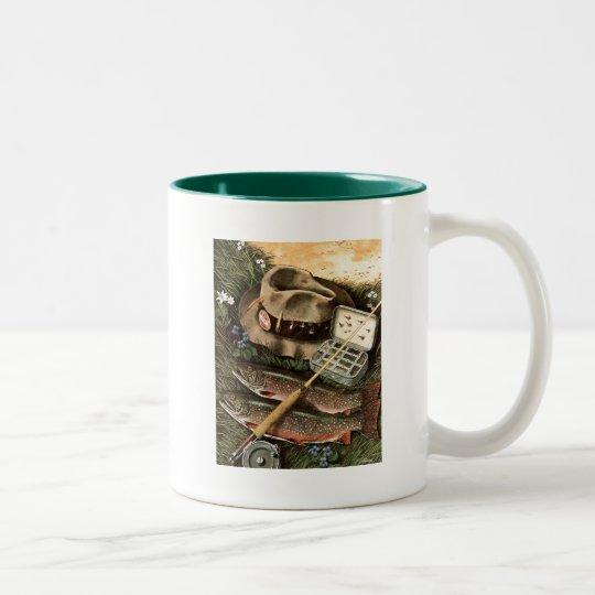 Fishing Still Life Two-Tone Coffee Mug