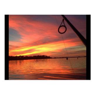 Fishing Sunset Postcard