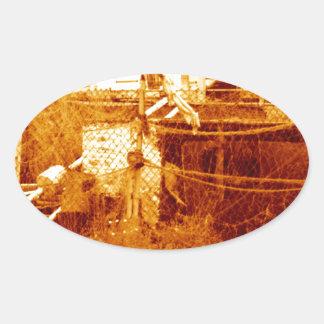 fishing & the beach (brighton 07) oval sticker