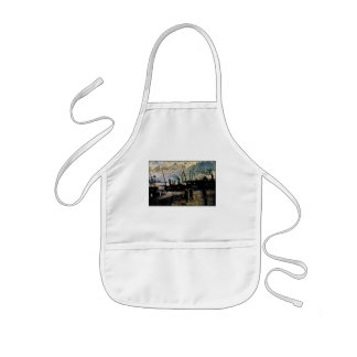 Fishing Vessels Docked at Harbor During the Storm Kids Apron