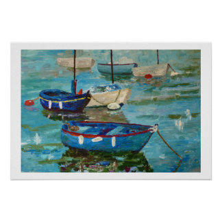 Fishing vessels with the port poster