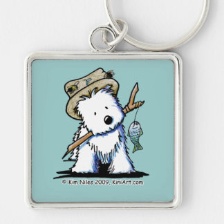 Fishing Westie Keychain II Silver-Colored Square Keychain