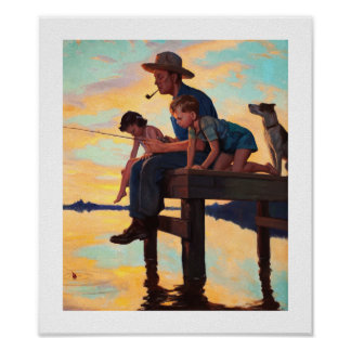 Fishing with Dad. Vintage Art Print