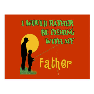 Fishing With Father Postcard