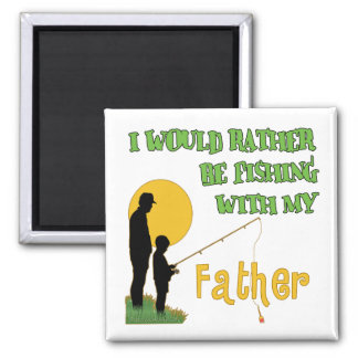 Fishing With Father Square Magnet