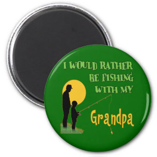 Fishing With Grandpa 6 Cm Round Magnet