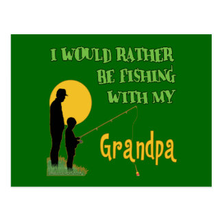 Fishing With Grandpa Postcard