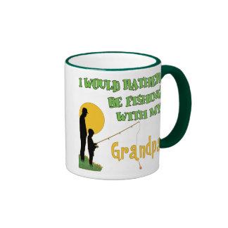 Fishing With Grandpa Ringer Coffee Mug