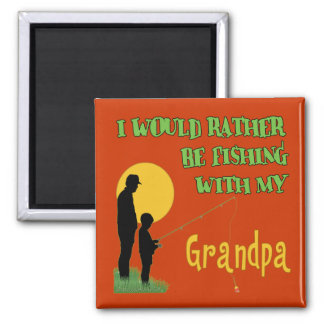 Fishing With Grandpa Square Magnet