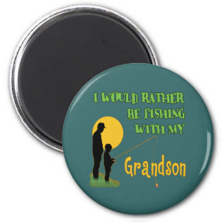 Fishing With Grandson 6 Cm Round Magnet