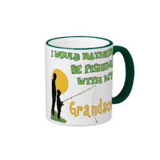 Fishing With Grandson Ringer Coffee Mug