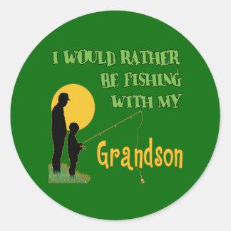 Fishing With Grandson Round Sticker
