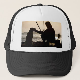 FISHING WITH HIS DOG IN VENICE TRUCKER HAT
